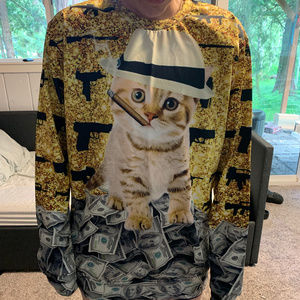 Shirts - Long Sleeve Kitty Gangster Money Guns